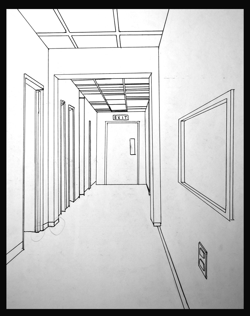 school hallway drawing - 800×1010